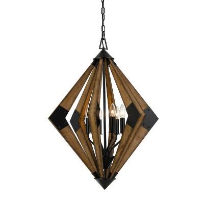 "(23.5"" x 23.5"") 6 Light Wood Arezzo Chandelier Brown - Cal Lighting"