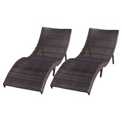 Acapulco Set of 2 Wicker Folding Chaise Lounge - Multibrown - Christopher Knight Home