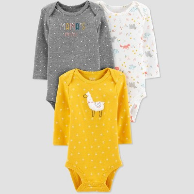 Baby Girls' 3pk Long Sleeve Llama Bodysuits - Just One You® made by carter's Yellow 3M