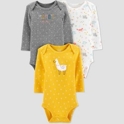 Baby Girls' 3pk Long Sleeve Llama Bodysuits - Just One You® made by carter's Yellow