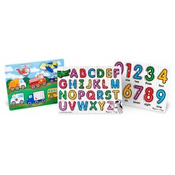 Melissa & Doug Wooden Peg Puzzles Set - Alphabet, Numbers, and Vehicles 44pc