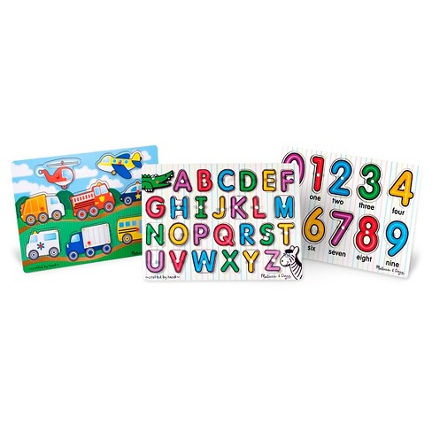 Melissa & Doug® Wooden Peg Puzzles Set - Alphabet, Numbers, and Vehicles 44pc - image 1 of 4