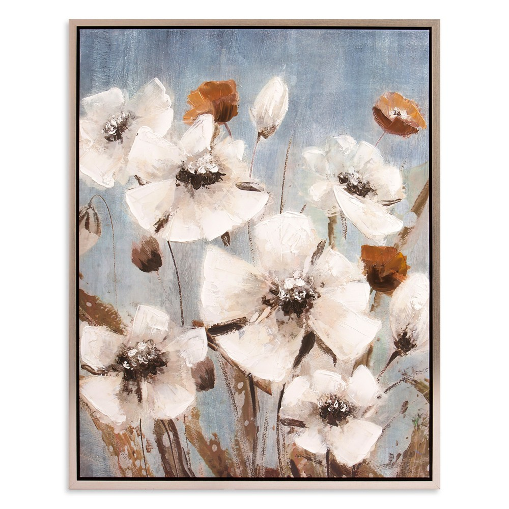 "Image of ""30""""x38"""" White Poppy Field Floral Framed Canvas Art Silver - Patton Wall Decor"""