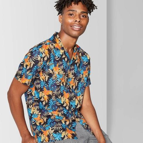 Men's Printed Short Sleeve Poplin Camp Button-Down Shirt - Original Use™ - Hawaiian Blue - image 1 of 3