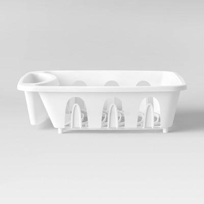 "12.6"" x 4.1"" x 14"" Plastic Kitchen Dish Rack White - Room Essentials™"
