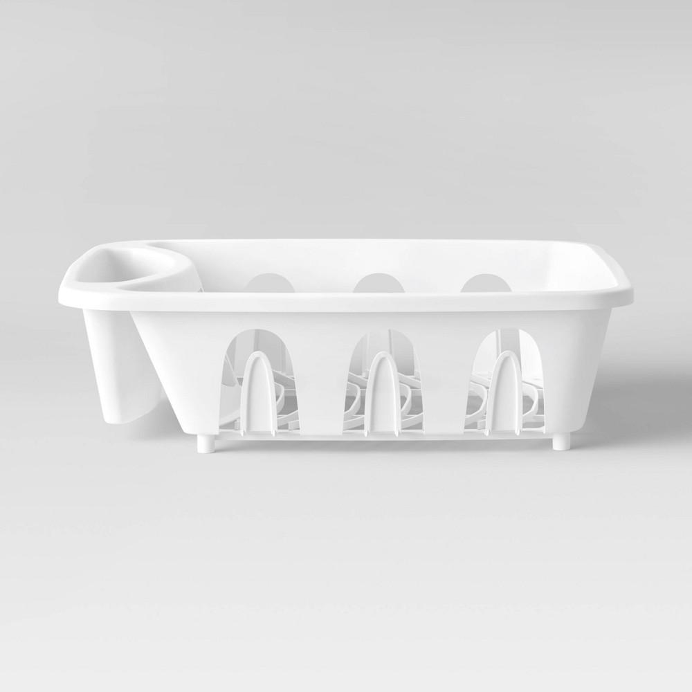 "Image of ""12.6"""" x 4.1"""" x 14"""" Plastic Kitchen Dish Rack White - Room Essentials"""