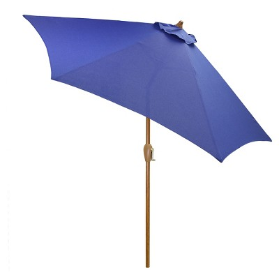 9' Round Umbrella - Cobalt - Wood Pole - Threshold™