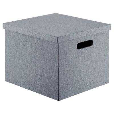 Lidded Milk Crate Storage Box 14  - Gray - Room Essentials™