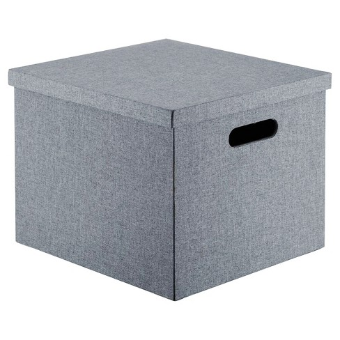 "Lidded Milk Crate Storage Box 14"" - Gray - Room Essentials™ - image 1 of 1"