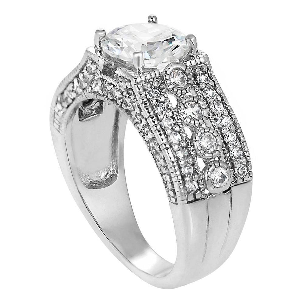 4 3/8 CT. T.W. Round-cut CZ Wedding Prong Set Ring in Sterling Silver - Silver, 6, Girl's