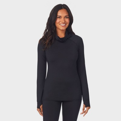 Warm Essentials by Cuddl Duds Women's Thermal Active Balaclava Top - Black