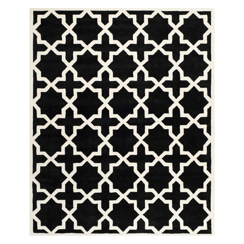 8'9X12' Quatrefoil Design Tufted Area Rug Black/Ivory - Safavieh