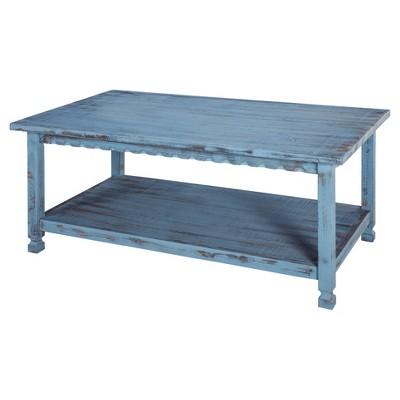 "46"" Coffee Table Wood Blue - Alaterre Furniture"