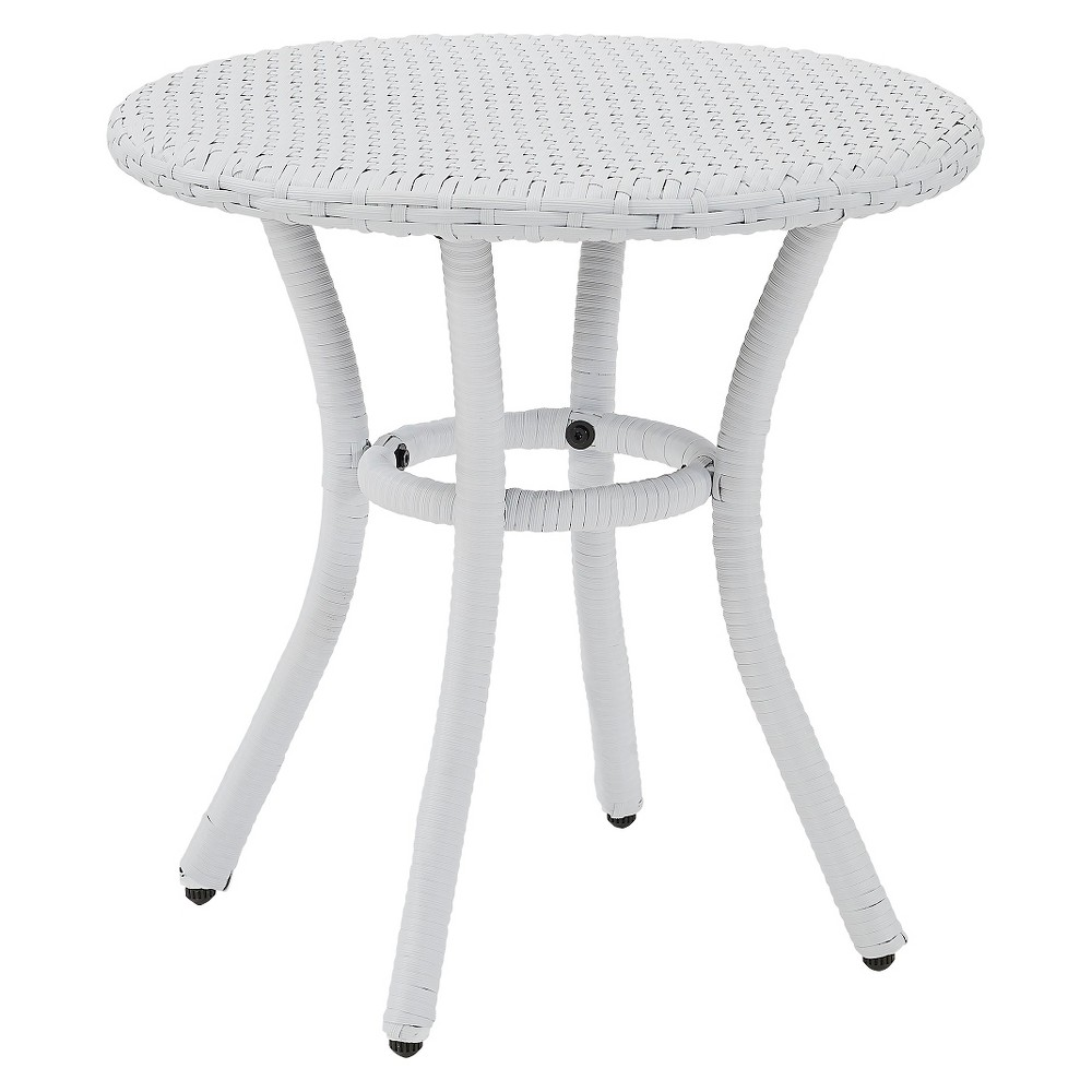 Crosley Palm Harbor Outdoor Wicker Round Side Table In White