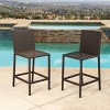 Cailen Outdoor Wicker Bar Stools with Cushions (Set of 2) - Espresso - Abbyson Living - image 3 of 4