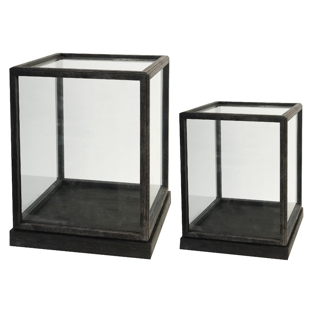 "Image of ""Set of 2 Glass and Wood Display Boxes - 17.5"""" and 19"""", Black"""