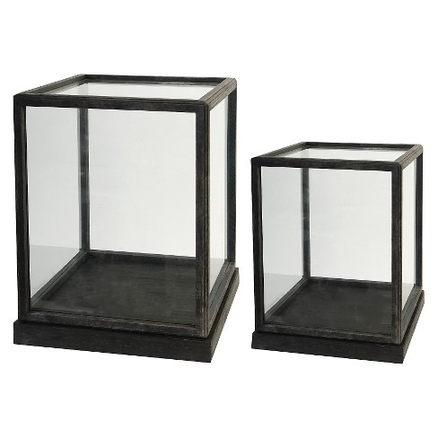 "Set of 2 Glass and Wood Display Boxes - 17.5"" and 19"" - image 1 of 1"