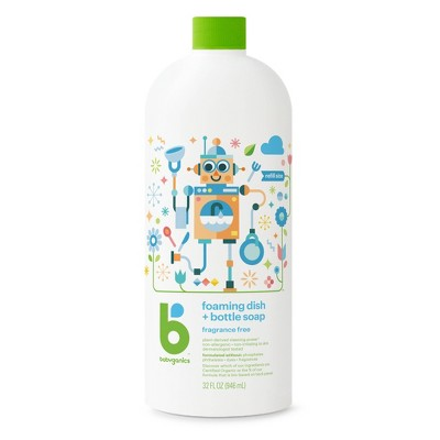 Babyganics Dish & Bottle Soap Refill, Fragrance Free - 32oz