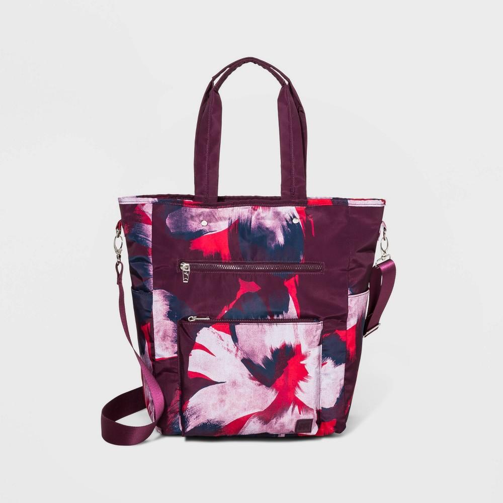 Image of Floral Print Convertible Tote Handbag - JoyLab Burgundy, Women's, Size: Small, MultiColored