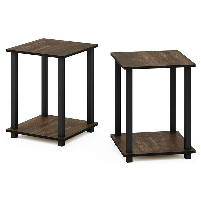 Furinno Furniture Simplistic Wooden Sturdy Square Flat Top Indoor Home Decor End Tables for Bedrooms and Living Rooms, Walnut (2 Pack)