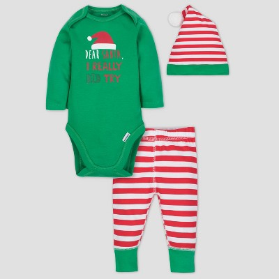 Gerber Baby Boys' 3pc Long Sleeve Bodysuit Cap and Pants Set - Green/Red 6-9M