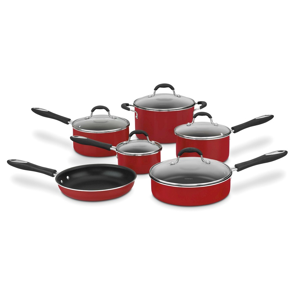 Image of Cuisinart 11pc Nonstick Cookware Set Red