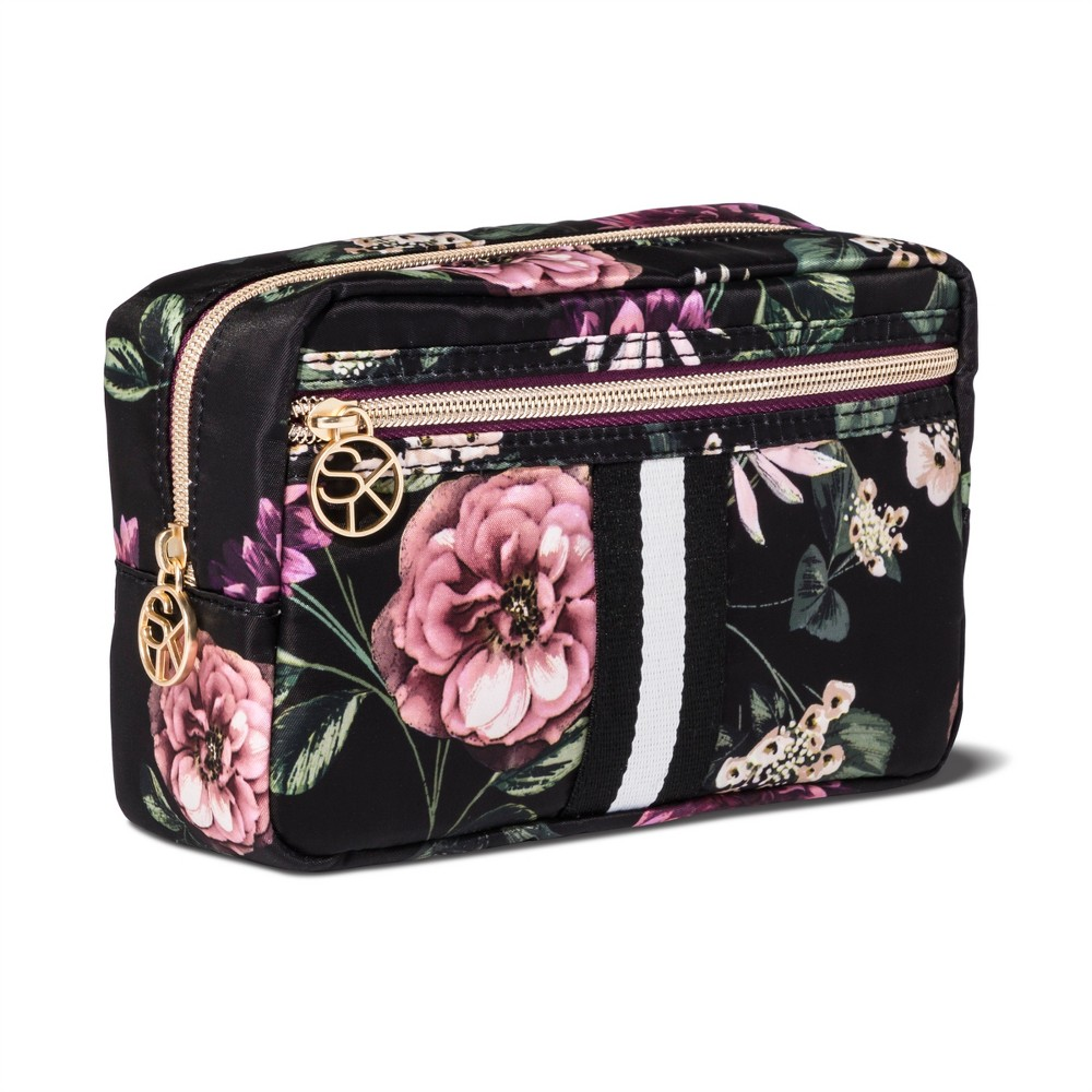 Sonia Kashuk Cosmetic Bag Overnighter Dark Floral with Webbing