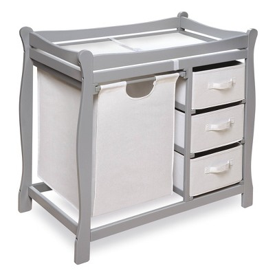 Badger Basket Sleigh Style Baby Changing Table with Hamper and 3 Baskets - Gray