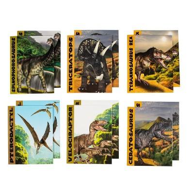 "12-Pack Pocket File Folders for Letter Size Paper, 6 Dinosaur Designs for Kids Boys, 12"" x 9.2"""