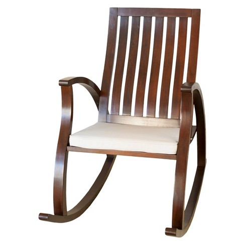 Abraham Wood Rocking Chair With Cushion Brown Mahogany