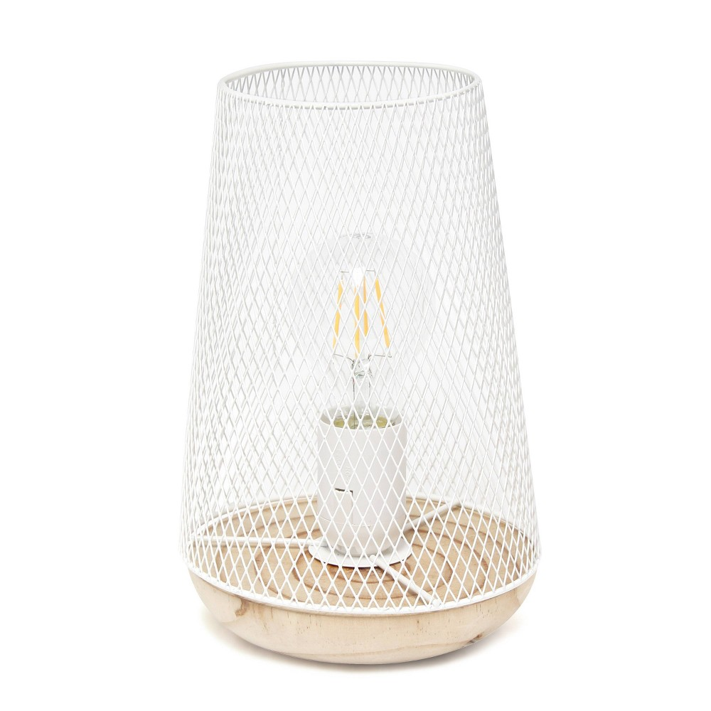 Wired Mesh Uplight Table Lamp White Simple Designs