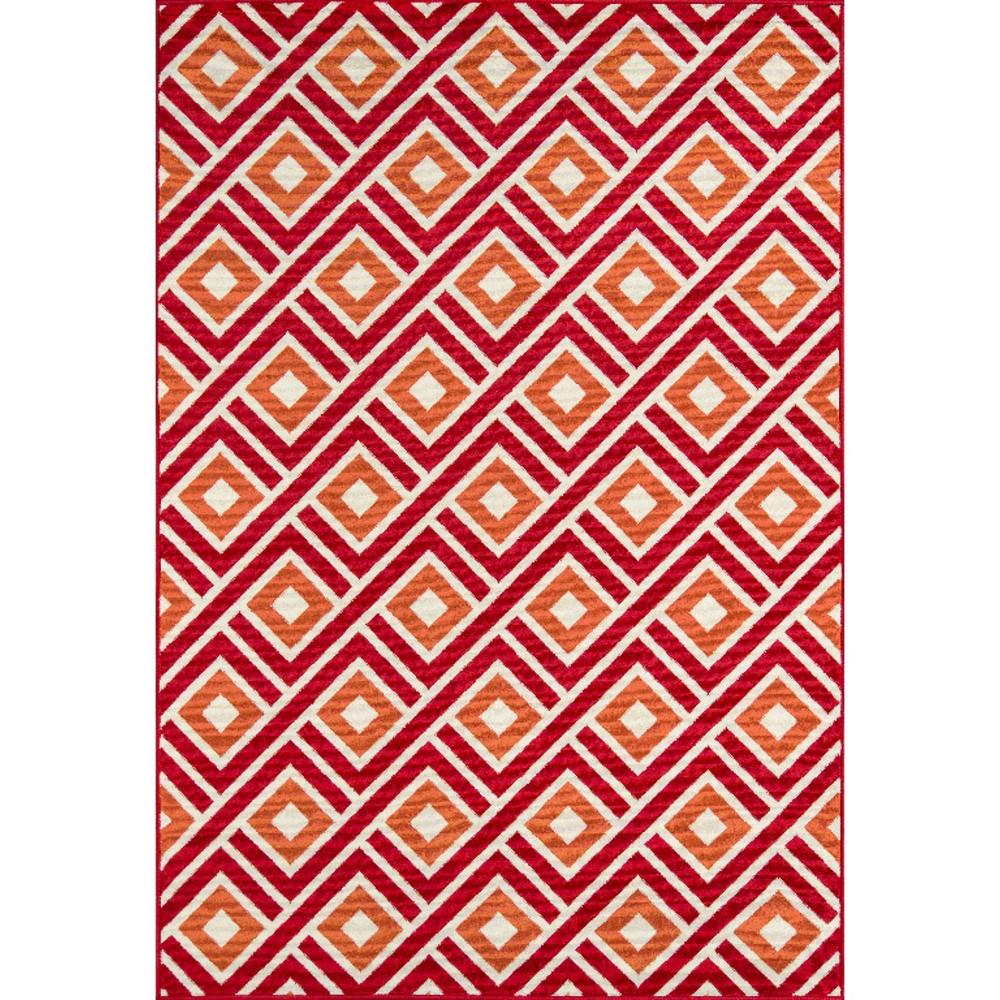 Indoor/Outdoor Squares Area Rug - Red (6'-7