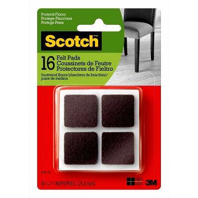 "Scotch 16pc 1"" Square Felt Pads Brown"