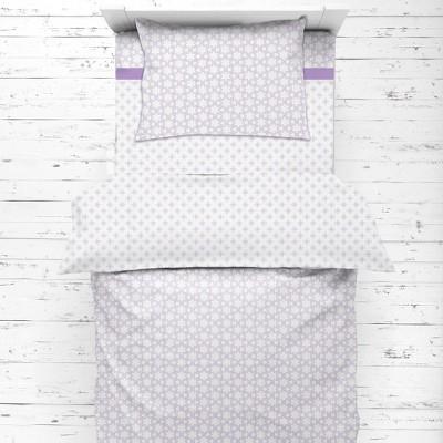 Bacati - Petals/Floral Lilac Girls Muslin 4 pc Toddler Bedding Set