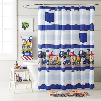 Trains and Trucks Printed Shower Curtain - Dream Factory