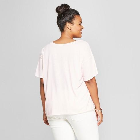 ce28bb99bea Women s Plus Size Short Sleeve No Thank You Floral Print Graphic T-Shirt -  Fifth Sun (Juniors ) Light Pink   Target