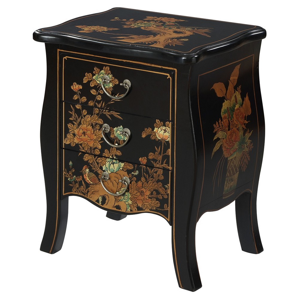 Touch of Asia 3 Drawer End Table - Black - Convenience Concepts