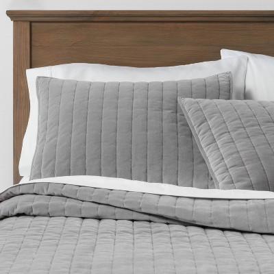Full/Queen Channel Stitch Velvet Quilt Gray - Threshold™