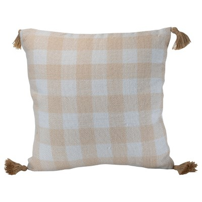 """Gingham Pattern Hand Woven 20x20"""" Outdoor Decorative Throw Pillow with Hand Tied Tassels - Foreside Home & Garden"""
