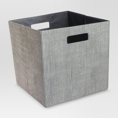 "13"" Fabric Cube Storage Bin Striped Gray - Threshold™"