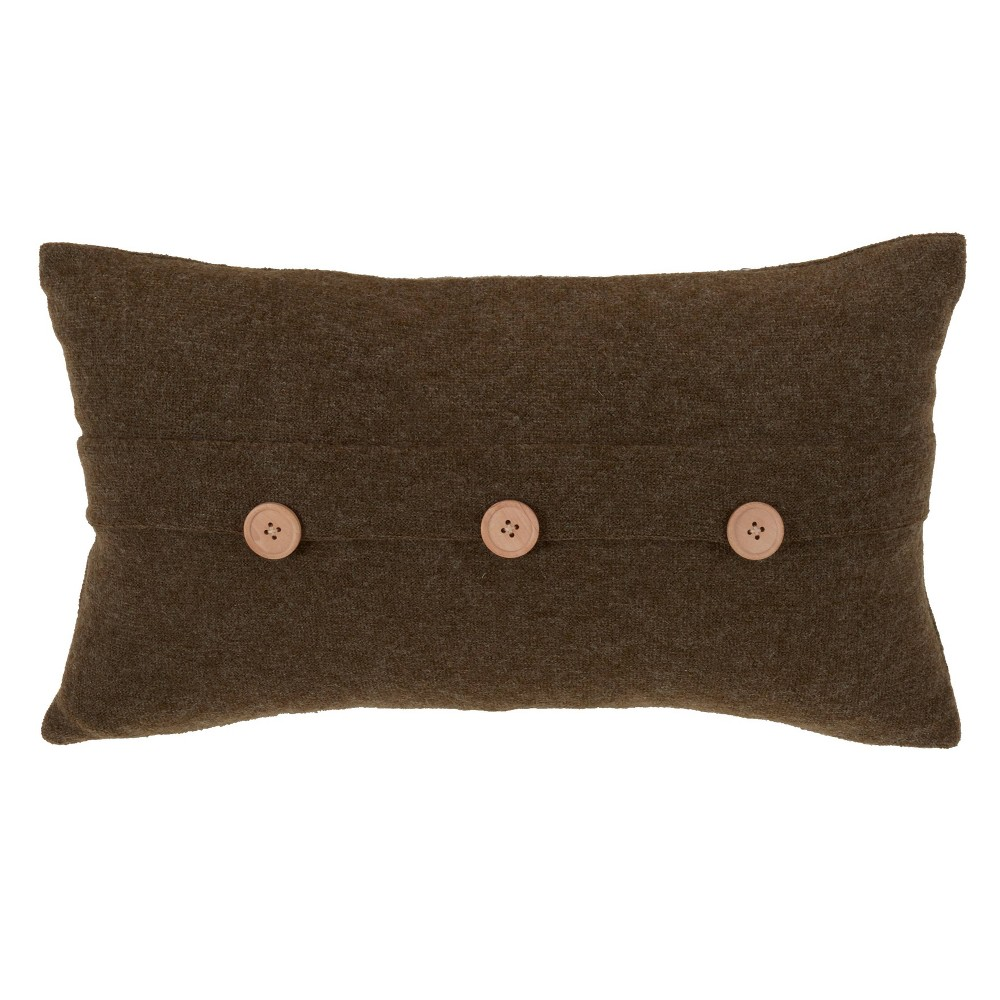 "Image of ""12""""x20"""" Down Filled Cardigan Pillow Green - Saro Lifestyle, Size: 12""""x20"""""""