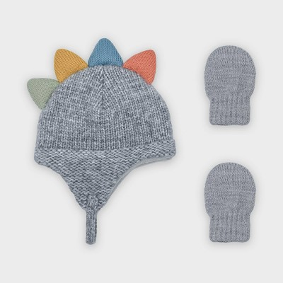 Baby Boys' Knit Dino Critter Trapper and Magic Mittens Set - Cat & Jack™ Light Gray 0-6M