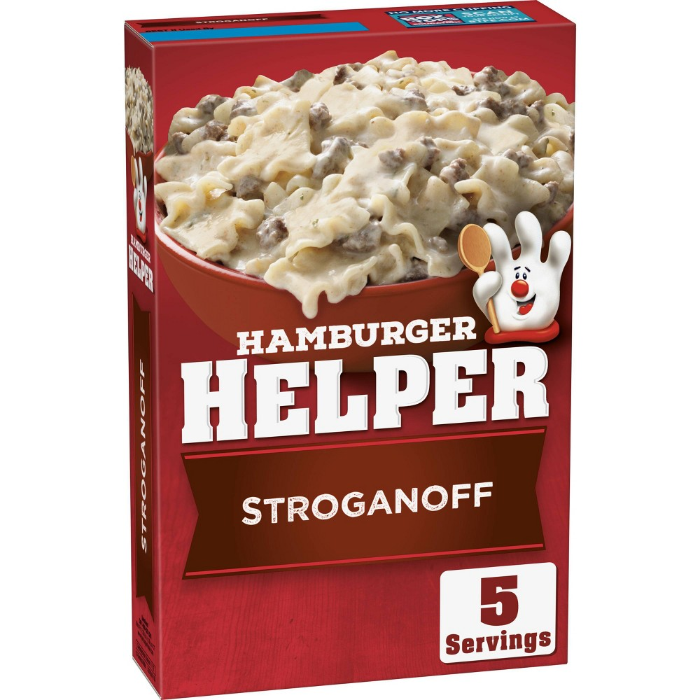 Hamburger Helper Stroganoff 6.4oz America's favorite Hamburger Helper in a stroganoff entrée, blending pasta and cheesy sauce. Packaged food is made with 100percent real cheese and no artificial flavors or colors from artificial sources. Make Hamburger Helper in three easy steps; simply brown beef, stir in ingredients and pasta sauce, and simmer. Make Hamburger Helper in three easy steps; simply brown beef, stir in ingredients and pasta sauce and simmer. Add your own twist with additional ingredients and head to the Betty Crocker website for Hamburger Helper recipes and pastas the whole family will love.