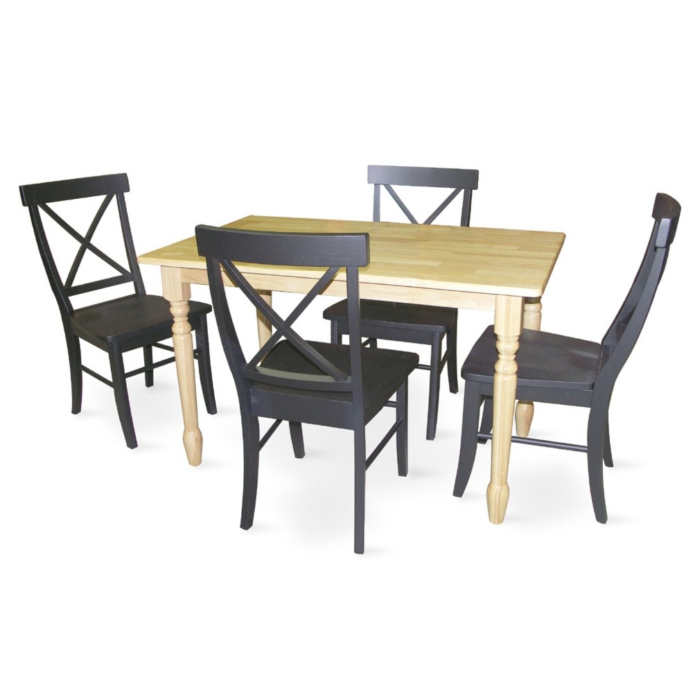 30' X 48' Set of 5 Solid Wood Top Table with 4 X Back Chairs Natural/Black - International Concepts