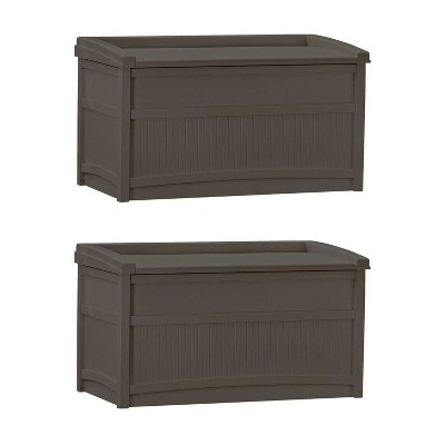 Suncast 50 Gallon Stay Dry Resin Outdoor Deck Storage Box w/ Seat, Java (2 Pack)
