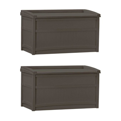 Suncast 50 Gallon Stay Dry Resin Outdoor Deck Storage Box w/ Seat, Java (2 Pack) - image 1 of 4