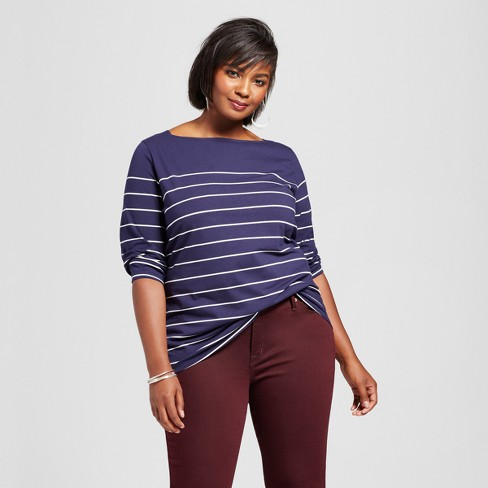 Women's Plus Size Striped Boatneck T-Shirt - Ava & Viv™ - image 1 of 2
