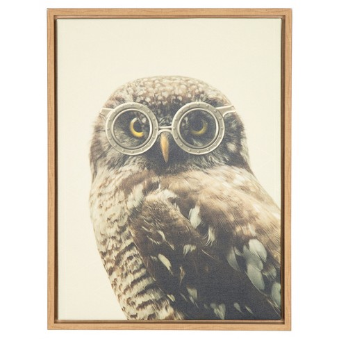 "Owl Wearing Glasses Framed Canvas Art Natural (24""x18"") - Uniek - image 1 of 3"