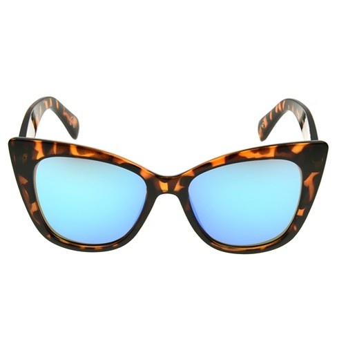 Women's Cateye Sunglasses with Blue Mirror Lenses - Tort - image 1 of 3