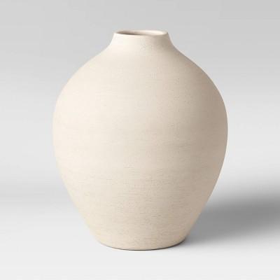 """10"""" x 8.5"""" Earthenware Fall Texture Vase White - Threshold™"""